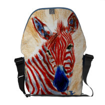 Patriotic Zebra Messenger Bag