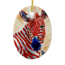 Patriotic Zebra Ornament