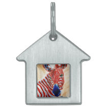 Patriotic Zebra Pet Tag