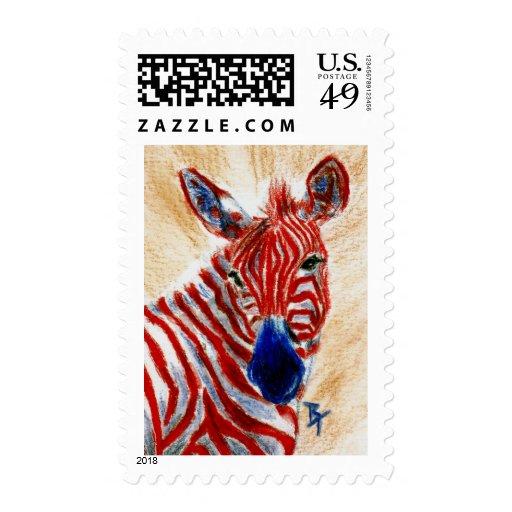 Patriotic Zebra Postage Stamp