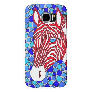 Patriotic Zebra Red White And Blue Mosaic Colorful Samsung Galaxy S6 Cases