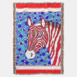 Patriotic Zebra Red White And Blue Mosaic Colorful Throw Blanket