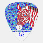 Patriotic Zebra Red White And Blue Mosaic Monogram Guitar Pick