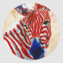 Patriotic Zebra Sticker