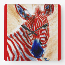 Patriotic Zebra Wall Clock