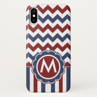 Patriotic Zig Zag Monogram iPhone X Case