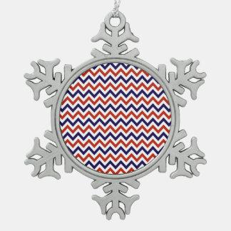 Patriotic Zigs & Zags Snowflake Pewter Christmas Ornament