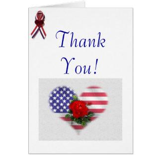 Patriótico gracias tarjeta de felicitación