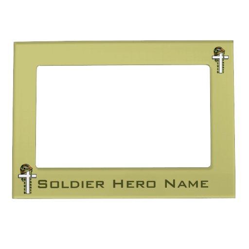 Patriótico nunca olvide a los soldados militares m marcos magnéticos de fotos
