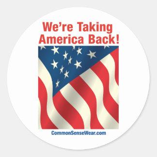 Patriótico - retire América Pegatina Redonda