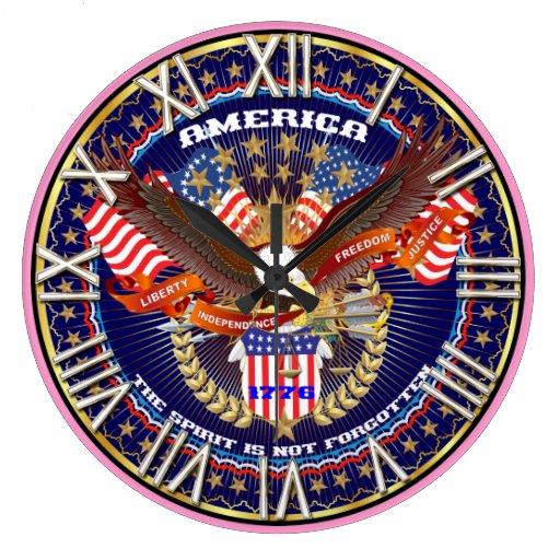 Patriótico todos los estilos satisfacen ven reloj redondo grande