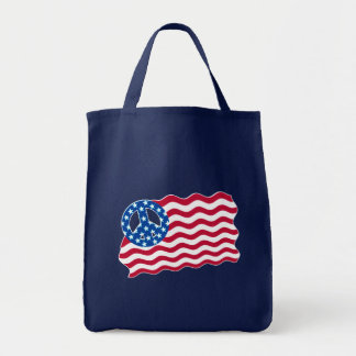 Patriotism and Peace in American Flag Design Canvas Bag