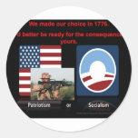 Patriotism or socialism stickers