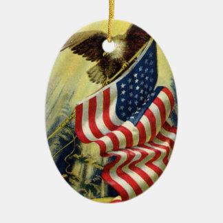 Patriotismo del vintage, bandera americana adorno ovalado de cerámica
