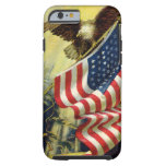Patriotismo del vintage, bandera americana funda de iPhone 6 tough