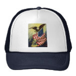 Patriotismo del vintage, bandera americana gorras de camionero