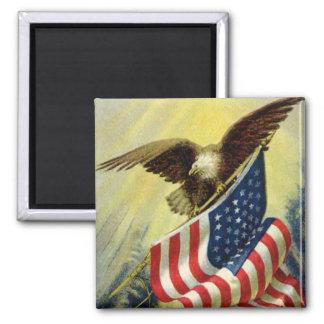 Patriotismo del vintage, bandera americana imán cuadrado