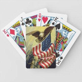 Patriotismo del vintage, bandera americana patriót baraja cartas de poker