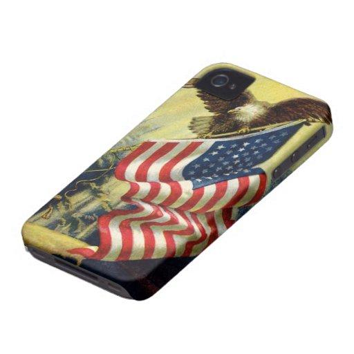 Patriotismo del vintage, bandera americana patriót iPhone 4 Case-Mate cárcasas