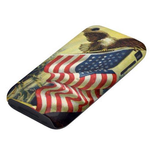 Patriotismo del vintage, bandera americana patriót tough iPhone 3 cárcasa