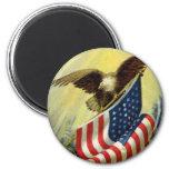 Patriotismo del vintage, bandera americana patriót imán de frigorífico