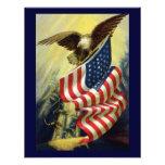 Patriotismo del vintage, bandera americana patriót comunicado