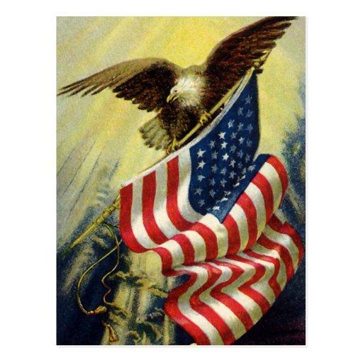Patriotismo del vintage, bandera americana patriót tarjetas postales