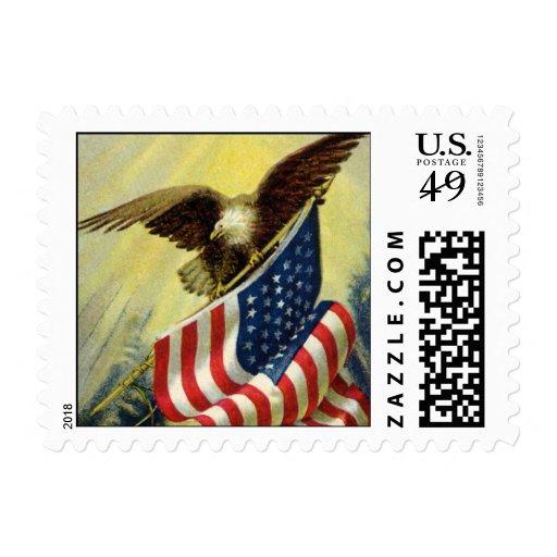 Patriotismo del vintage, bandera americana sellos