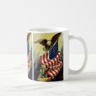 Patriotismo del vintage, bandera americana taza de café
