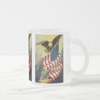 Patriotismo del vintage, bandera americana taza de cristal