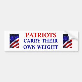 Patriots Carry Their Own Weight Bumper Sticker