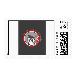 Patriots Day Greeting Card American Cavalry Soldie Stamp