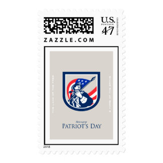 Patriots Day Greeting Card American Patriot  USA F Postage Stamp