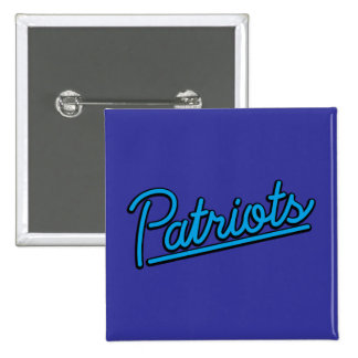 Patriots neon sign in cyan pinback button