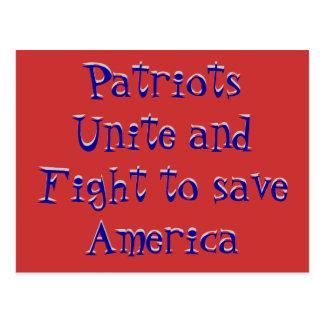 Patriots Unite and Fight to save America, Patri... Postcard
