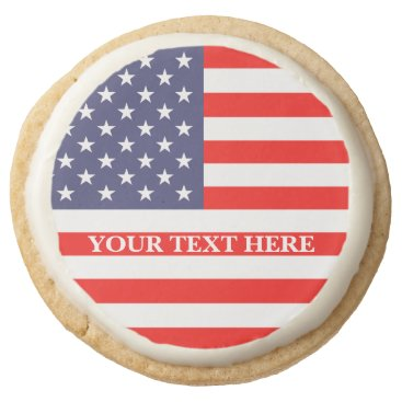Patritoic American flag 4th of July party custom Round Shortbread Cookie