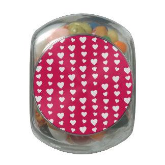 Patrón Corazones blancos del día de San Valentín Frascos Cristal