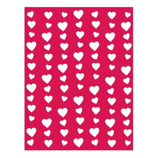 Patrón Corazones blancos del día de San Valentín Tarjetas Postales