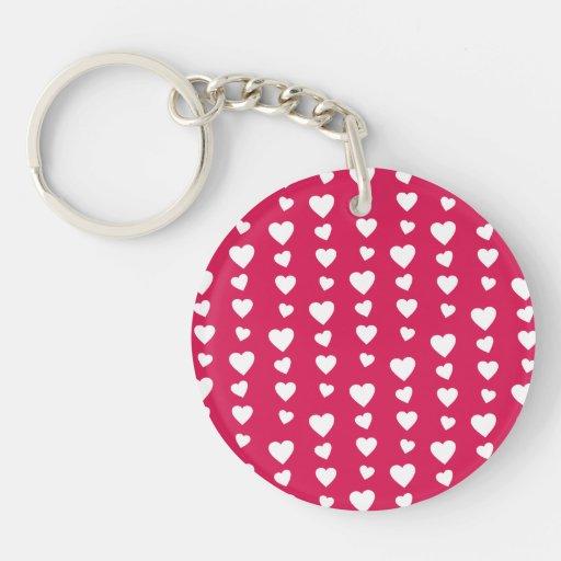 Patrón Corazones del día del amor de San Valentín Llavero