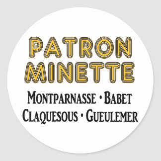 Patrón-Minette Pegatina Redonda