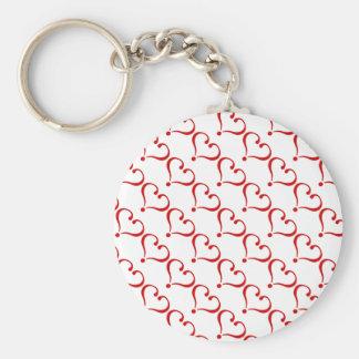 Patrón mosaico con corazones rojos fondo blanco llaveros personalizados