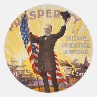 Patrón oro del poster de la campaña de William Pegatina Redonda