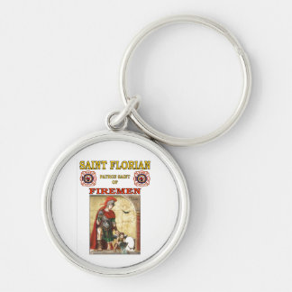 PATRON SAINT OF FIREMEN Silver-Colored ROUND KEYCHAIN