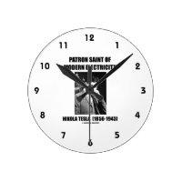 Patron Saint Of Modern Electricity (Nikola Tesla) Round Wall Clock