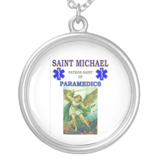 PATRON SAINT OF PARAMEDICS SILVER PLATED NECKLACE