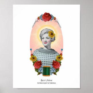 Patron Saint of Sewing Retro Art Print 8x10