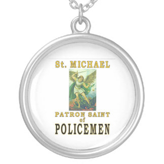 PATRON SAINT POLICEMEN ROUND PENDANT NECKLACE