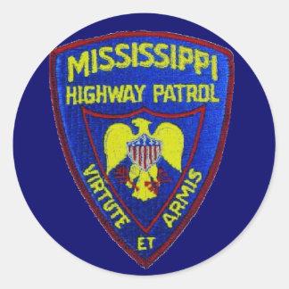 Patrulla de la carretera de Mississippi Pegatina Redonda