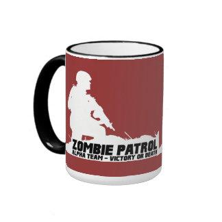 Patrulla del zombi - equipo alfa, victoria o muert taza de café
