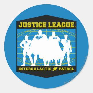 Patrulla intergaláctica de la liga de justicia pegatina redonda